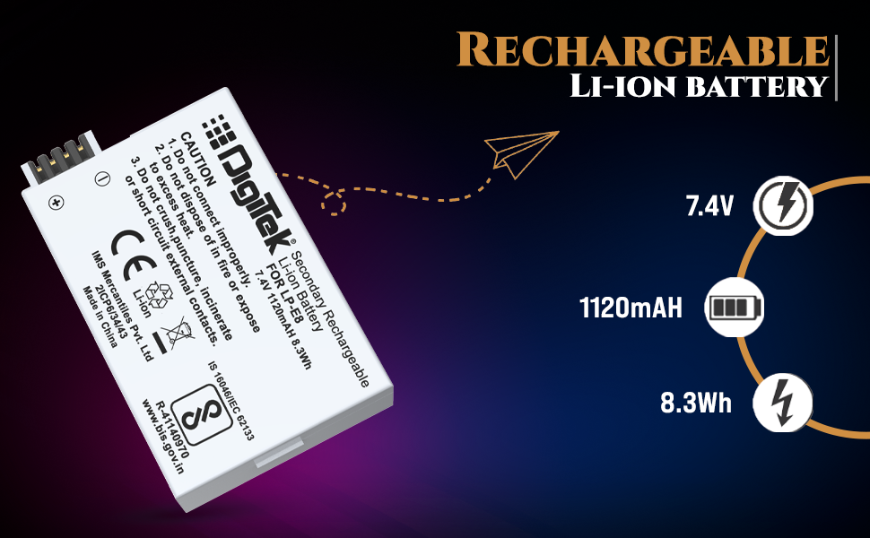 rechargeable battery; canon DSLR camera battery; battery for DSLR camera; canon battery; battery