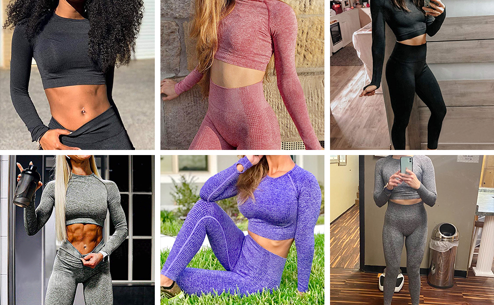 Women Yoga Leggings Seamless High Waisted Tummy Control Yoga Pants for Gym Running Workout