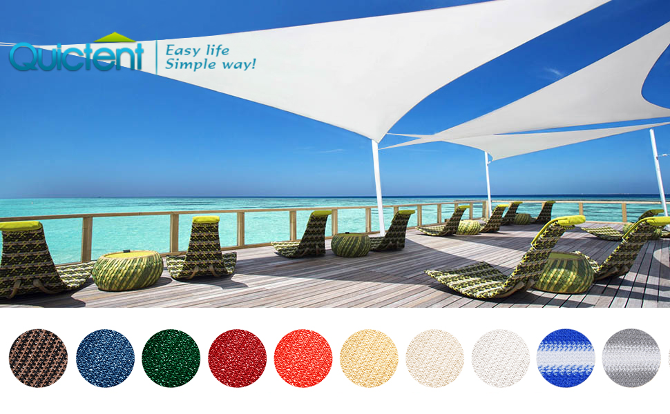 Quictent 26 X 20 ft 185GSM HDPE Rectangle Sun Sail Shade Canopy 98% UV Block with Hardware Kit