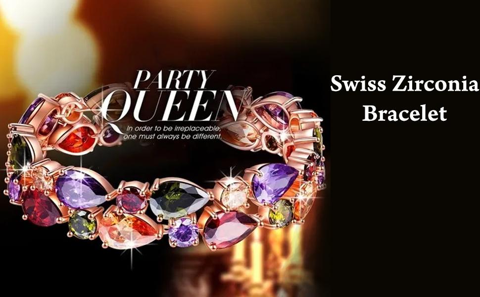 Multicolor Swiss Zircon Love Party Wear multi color crystal Bracelet  for women girls online