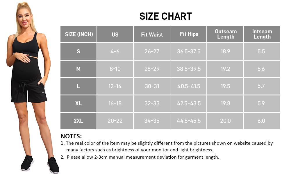 Maternity Active Shorts/Workout Shorts with Pockets and Drawstring Waist