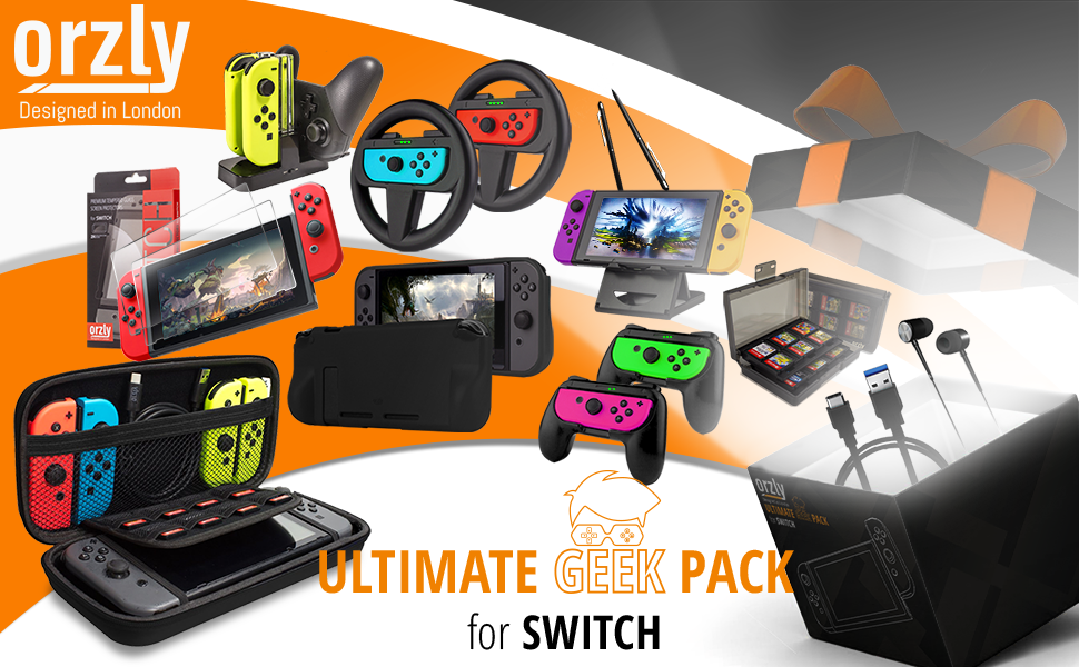 Nintendo Switch Accessory bundle Geek Pack by orzly