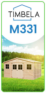 timbela garden shed wooden with windows door roof sturdy easy assembly 418 x 318 cm 12 m² m331