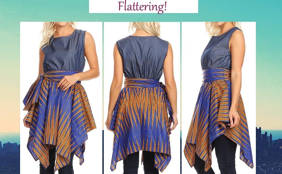 sleeveless belt pockets scarf  v neck cross front long maxi flared african ankara print color casual