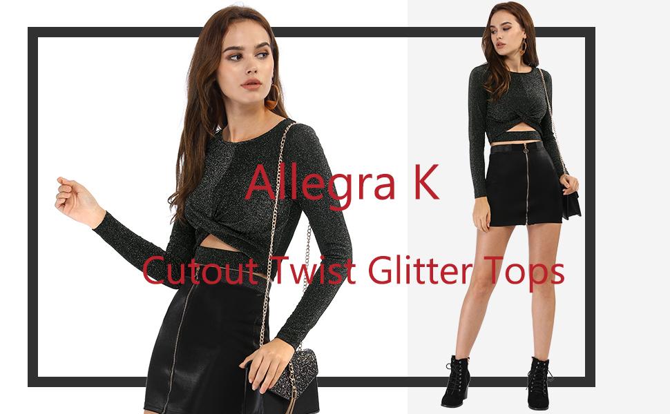 Women/'s Long Sleeve Crew Neck Cut Out Glitter Crop Tops
