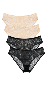 WingsLove 4 Pack Women's Sexy Lace Panties Breathable Hipster Comfort Underwear Bikini Plus Size