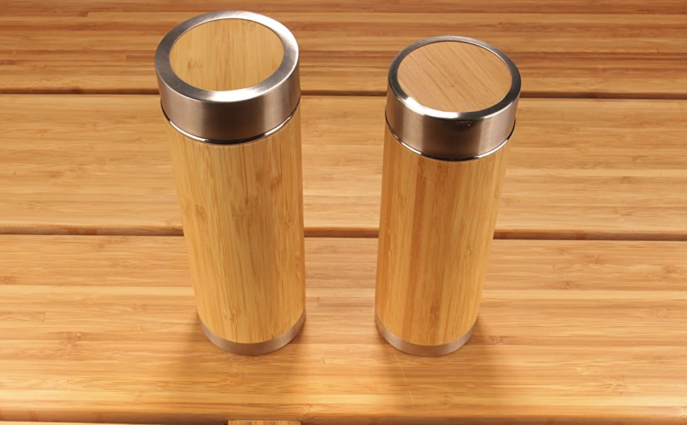 bamboo insulated tea travel thermos