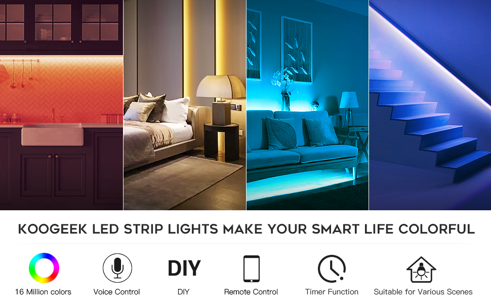 Koogeek Wi-Fi Smart Ruban LED 2m lumi/ère et couleur r/églable 16 millions de couleurs en option T/él/écommande IP65 USB aliment/é 2.4GHz Apple HomeKit