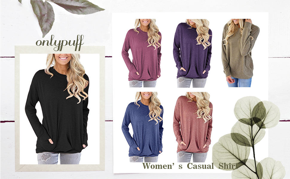 onlypuff Pocket Shirts for Women Casual Loose Fit Tunic Top Baggy Comfy Blouse
