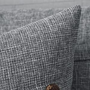 farmhouse linen burlap pillows grey gray with vintage buttons
