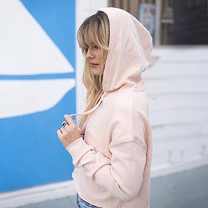 Long-Sleeve Slim Fit Lightweight Fleece Pullover Cropped Hoodie Sweater