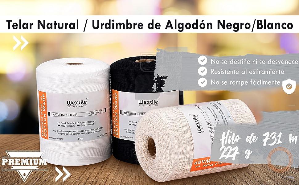 Hilo de urdimbre duradero para telar, 8/4 de puro algodón (731 m), perfecto para tejer: Alfombras, tapices, alfombras, mantas o patrones - Hilo de ...