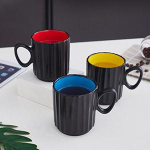 Ceramic 14 Ounces Large Handle Coffee Mug Set of 6, Ceramic Coffee, Tea, and mulled drinks mugs