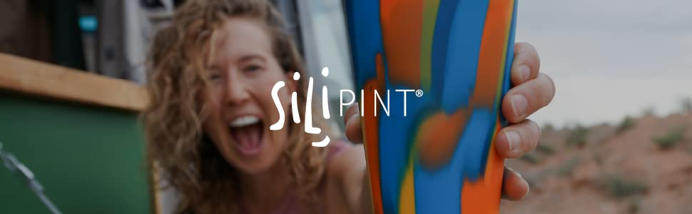 Silipint logo and picture of a smiling woman holding a colorful Silipint cup toward the camera.