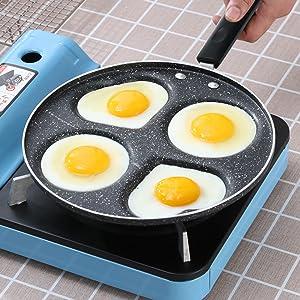 Padella antiaderente per uova a 4 fori 4 Round Holes fornello per uova rotondo//a forma di cuore per frittata Pancake Plett Crepe