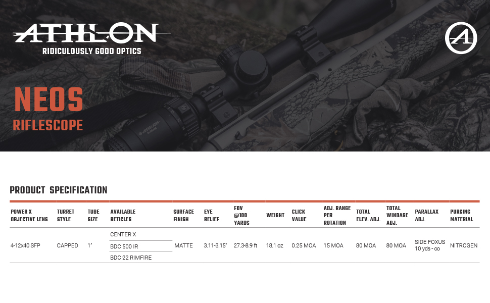Athlon Optics Neos Riflescope Spcification