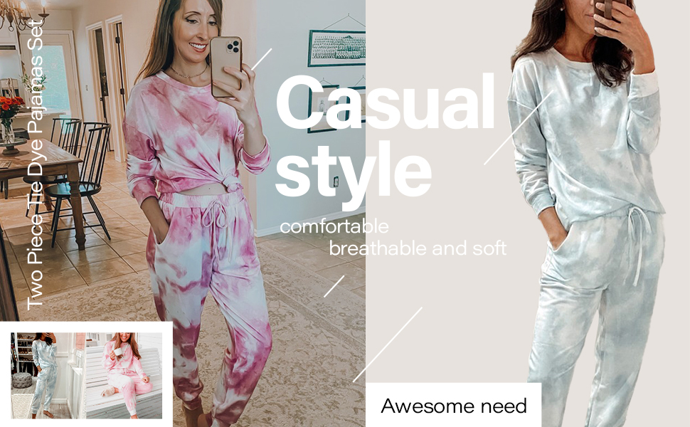 women two piece jogger pajamas with pockets