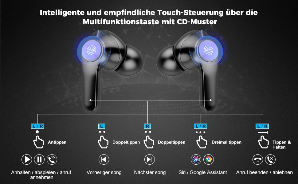 bluetooth kopfhörer in ear mit Touch-Steuerung