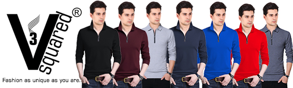 Black grey single colored collar and zip polo t-shirt