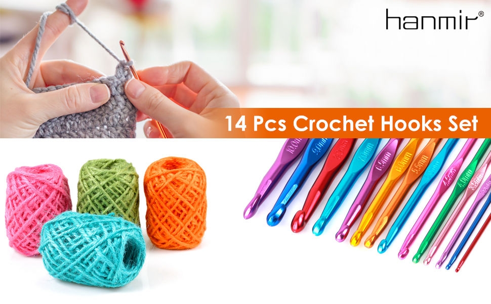 14 Pcs Crochet Hooks Set