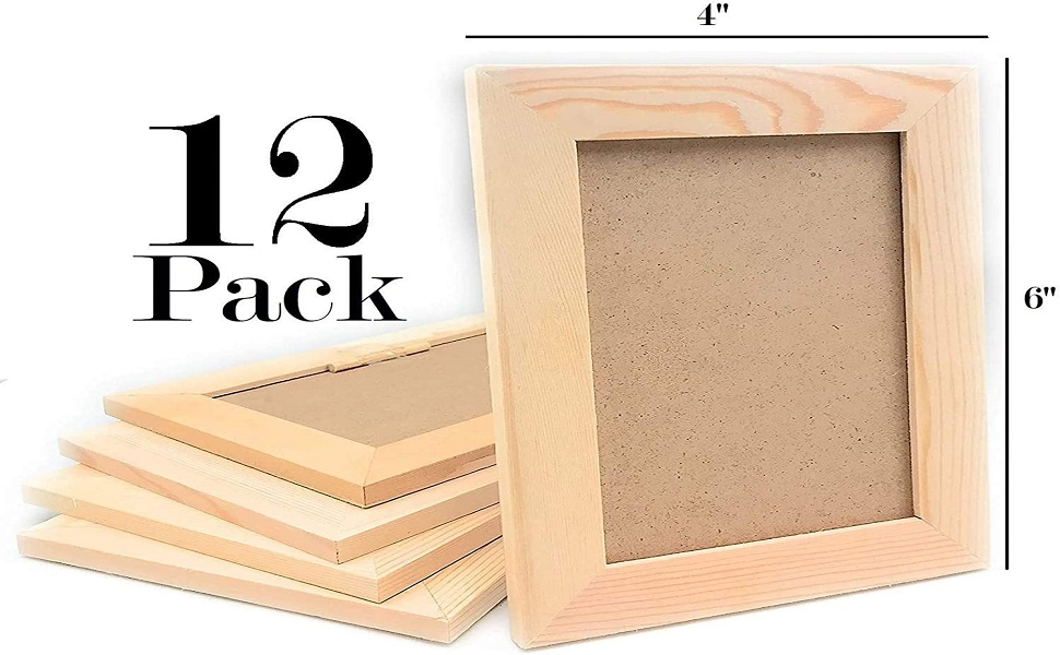 Pack Of 12 Unfinished Solid Wood Picture Frames For Arts Crafts Diy Painting Project Stand Or Hang On The Wall 6x8 Frame Size Holds 6x4 Pictures For Kids Craft Birthday School