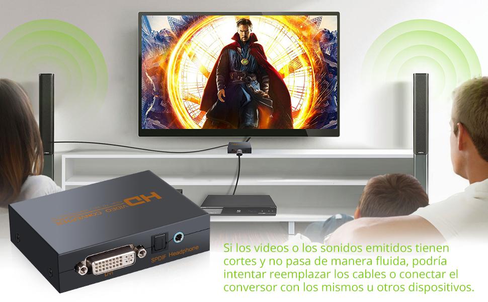 LiNKFOR Convertidor de HDMI a DVI Optico Toslink SPDIF con Jack 3 ...