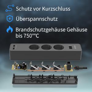 5 Fach Steckdosenleiste 3m mit USB