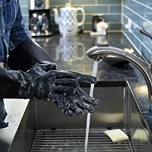 Clean-up is as easy as washing on your hands with soap and water and letting dry