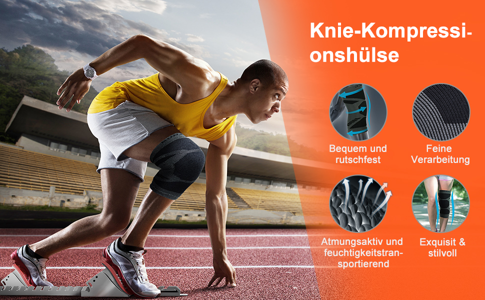 Anti-Rutsch Kniest/ütze Atmungsaktiver Knieorthese Knee Support zur Sport Laufen Basketball Joggen 2 St/ück, Blau, M AMZSPORT Kniebandage f/ür Damen und Herren