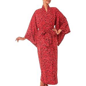 daisy red kimono robe