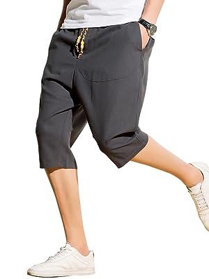 サルエルパンツ メンズ ハーフパンツ 半パンツ 麻 ズボン ショートパンツ