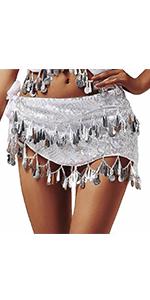 Belly Dance Hip Scarfs Silver