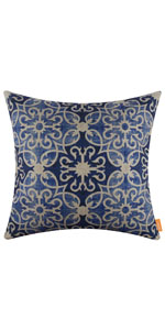 LINKWELL 18x18 inches Modern Blue and White Pattern Burlap Pillow Cover