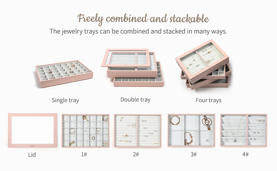 Freely combined and stackable jewellery trays