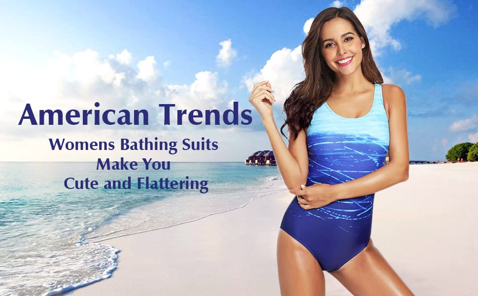 American Trends Swimsuits for Women One Piece Bathing Suits Tummy Control Swimdress Athletic Womens Swimsuit
