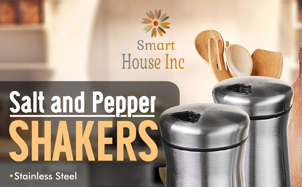 Acier Inoxydable Salt /& Pepper shakers en verre fond Rotatif Housse Spice sucre
