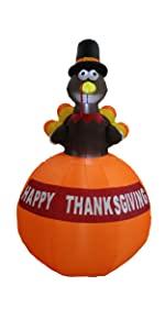 bzb goods thanksgiving halloween inflatables led lights yard garden outdoor decoration turkey blowup