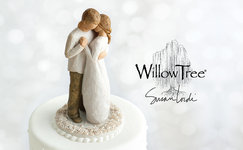 Willow Tree Promise cake topper, two figures standing and embracing.