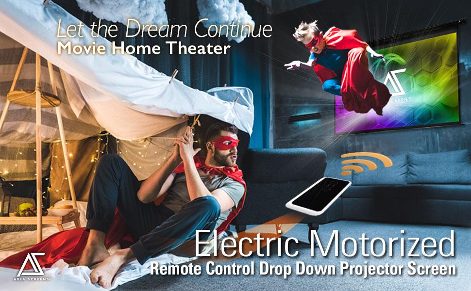 Akia Electric Motorized Remote Control Drop Down Projector Screen