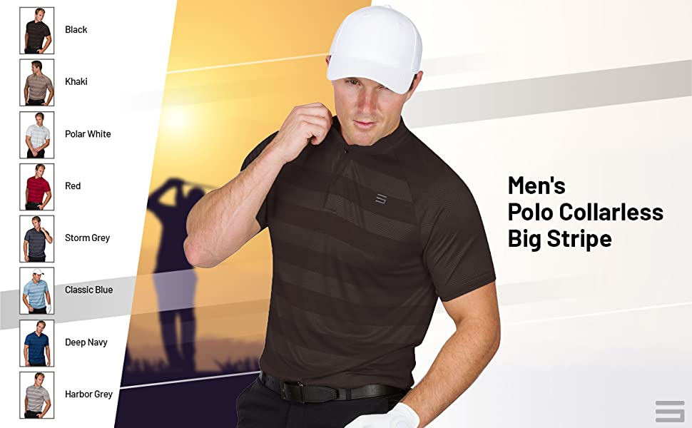 Men's collarless big stripe golf polos. Performance polos that come in a variety of colors.