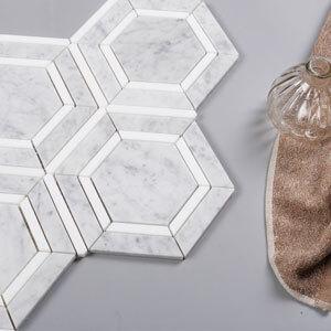 CARARA AND THASSOS white marble hexagon tile -3