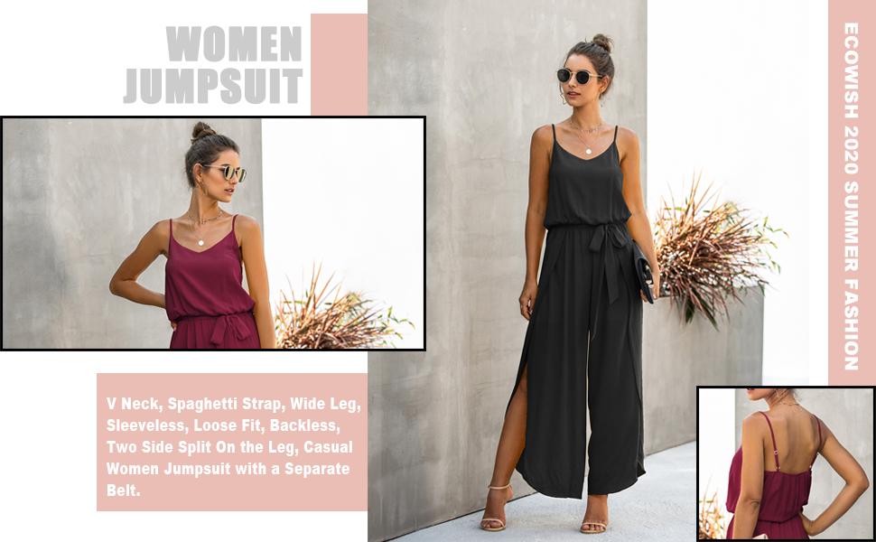 Wofupowga Women Wide Leg Summer Spaghetti Strap Ruffle Playsuit Jumpsuit
