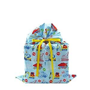 trucks gift bag, baby shower bag, construction, baby gift bag, birthday bag