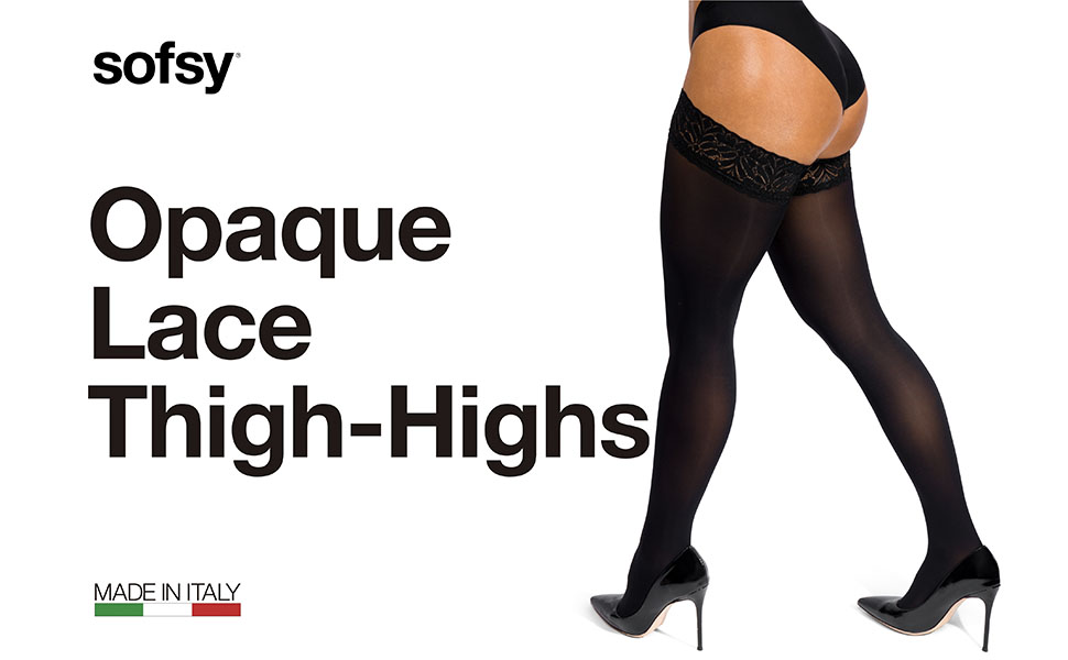 sofsy Opaque Lace Thigh-Highs