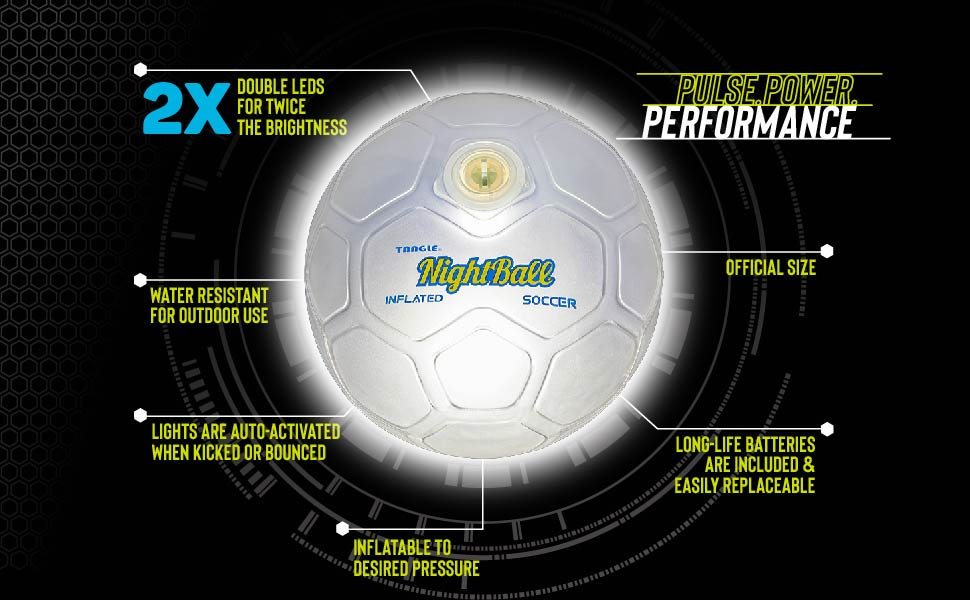 tangle nightball soccer light up sports glow LED technology outdoor battery performance