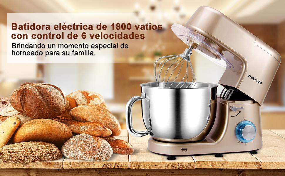 CHeflee 1800W Batidora Amasadoras Repostería Profesional, Robot De Cocina Automática Multifuncional Amasadoras De Pan Capacidad de 7,2 litros,6 velocidades (Dorado champagne): Amazon.es: Hogar