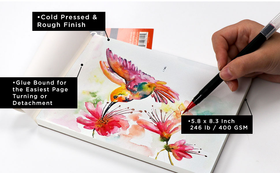 cold pressed rough finish 246 lb 400 gsm heavyweight paper for painting mini pad kids adults artists