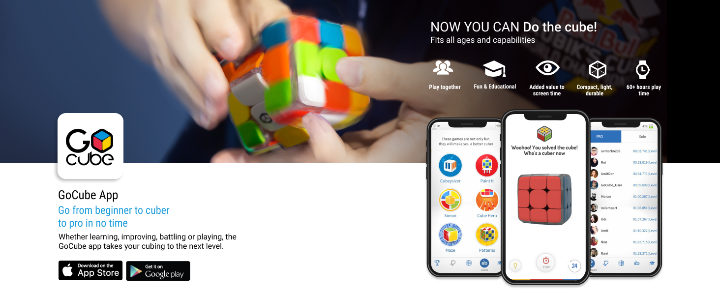 GoCube App go from beginner to cuber to pro in no time. fun and educational, compact, 60+ hours play