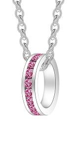 Swarovski eternity charm channel set silver birthstone valentine mother engagement wedding birthday