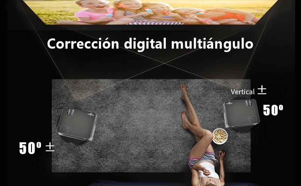 Corrección digital multiangulo keystone digital proyector led unicview hd450 full hd nativo 4k